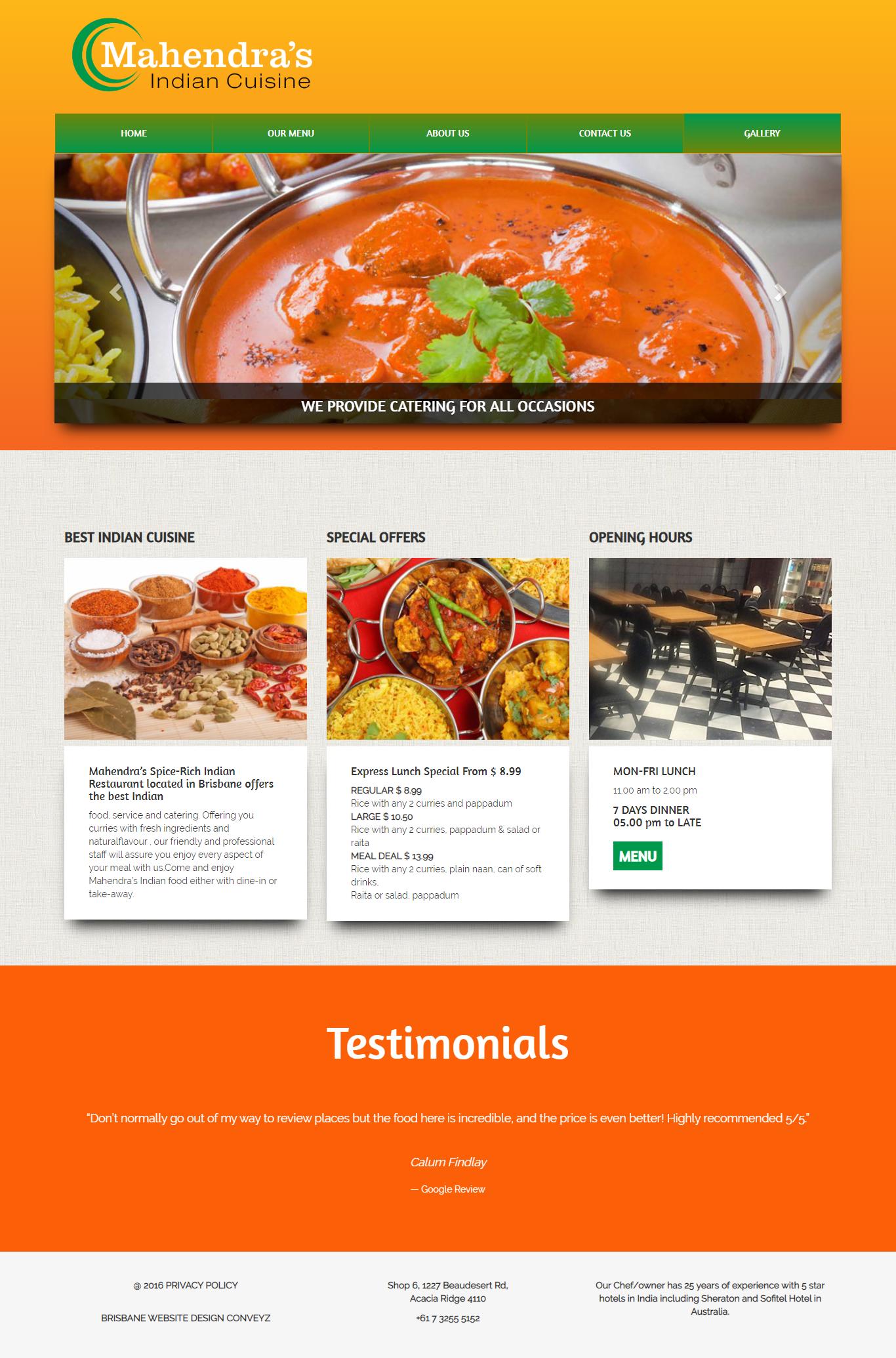 Website Design for Mahendras crusine