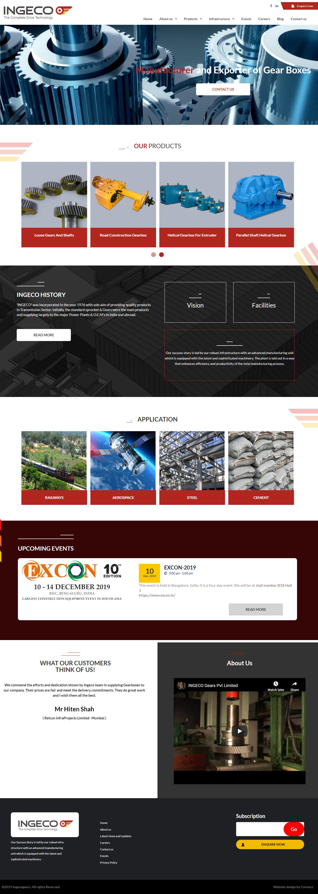 Websiet Design For Ingeco Gears India